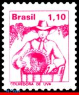 Ref. BR-1449 BRAZIL 1977 JOBS, NATIONAL PROFESSIONS,, GRAPE HARVESTER, MI# 1584, MNH 1V Sc# 1449 - Brasile
