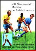 Ref. BR-2008 BRAZIL 1985 - WORD CUP CHAMPIONSHIP,, MEXICO, FIFA, SPORT, S/S MNH, FOOTBALL-SOCCER 1V Sc# 2008 - 1986 – Mexiko
