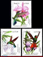 Ref. BR-2335-37 BRAZIL 1991 BIRDS, PREVENTION FOREST,ORCHIDS, , HUMMINGBIRDS, BRAPEX,MI# 2435-37, MNH 3V Sc# 2335-2337 - Brazil