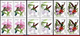 Ref. BR-2335-37-Q BRAZIL 1991 BIRDS, PREVENTION FOREST,ORCHIDS, ,HUMMINGBIRDS,MI# 2435-37,BLOCKS MNH 12V Sc# 2335-2337 - Protection De L'environnement & Climat