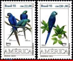 Ref. BR-2423-24 BRAZIL 1993 BIRDS, PARROTS, AMERICA ISSUE,, UPAEP, FAUNA, MI# 2548-49, SET MNH 2V Sc# 2423-2424 - Brazil