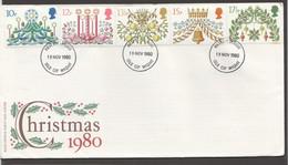 1980  Christmas  SG 1138-1142 - FDC