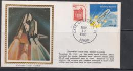 SPACE  - USA-  1981 - COLUMBIA FUEL CASINGS COLORANO SILK  COVER  WITH CAPE CANAVERAL  NOV 12  1981  POSTMARK - Covers & Documents