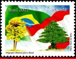 Ref. BR-2954 BRAZIL 2005 FLAGS, LEBANESE IMMIGRATION,, LEBANON, NATURE, TREES, MNH 1V Sc# 2954 - Arbres