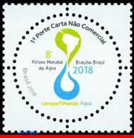 Ref. BR-V2018-01 BRAZIL 2018 NATURE, 8TH WORLD WATER FORUM,, ROUND STAMP, MAPS, SHARING WATER, MNH 1V - Brazilië