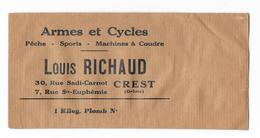 Sachet En Papier Neuf- Armes Et Cycles  Pêche-Sports-Machine à Coudre- Louis RICHAUD à CREST (Drôme) - Vieux Papiers