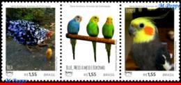 Ref. BR-V2018-09-5 BRAZIL 2018 - ANIMALS, FAUNA, PETS, UPAEP, AMERICA, SERIES, BIRDS, CHICKEN, SET MNH,3V - Parrots