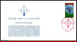 Ref. MX-2239FD MEXICO 2001 JOINT ISSUE, UNITED NATIONS,MI#2935,, YEAR OF DIALOGUE AMONG CIVILIZATIONS,FDC 1V Sc# 2239 - Emissions Communes