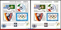 Ref. UR-1527-D URUGUAY 1994 FOOTBALL-SOCCER, WORLD CUP CHAMPIONSHIPS,, US, 2 SS MNH, PARTIALLY DETACHED 4V Sc# 1527 - Fußball-Weltmeisterschaft