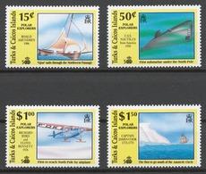 Turks And Caicos 1991 Mi# 971+ 972+ 974+ 975** POLAR EXPLORERS, DISCOVERY OF AMERICA 500th ANNIV. - Turks & Caicos (I. Turques Et Caïques)