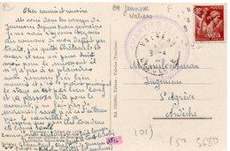 LES CHANTIERS DE LA JEUNESSE CAMP DE VALREAS (vaucluse)  Cachet Violet Sur C.P. - Marcophilie (Lettres)
