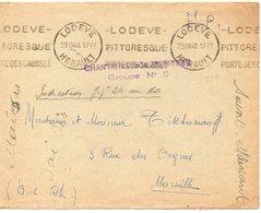 LES CHANTIERS DE LA JEUNESSE CAMP DE LODEVE Herault N°24 - Marcophilie (Lettres)