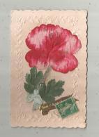 Cp  , Fleurs ,dentelée  , Voyagée , Carte à Rajout , Découpis, Gaufrée,tissus ,noeud , BONNE ET HEUREUSE ANNEE - Cartes Postales