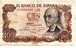 EL BANCO DE ESPANA   CIEN PESETAS ( 2 Novembre 1970 - [ 5] 1949-… : Royaume