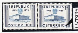"""LTV935 ÖSTERREICH 1955 Michl 1013 PLATTENFEHLER FARBFLECK Unter """"H"""" ** Postfrisch - Abarten & Kuriositäten"""