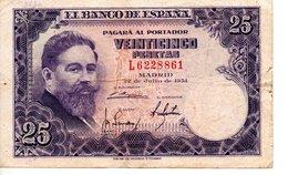 EL BANCO DE ESPANA VEINTICINCO PESETAS (22juin 1954  ) - [ 5] 1949-… : Royaume