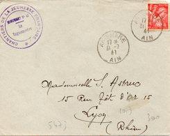LES CHANTIERS DE LA JEUNESSE GROUPEMENT N°43  SIDI BRAHIM Artemae Ain - Marcophilie (Lettres)