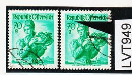 LTV949 ÖSTERREICH 1949 Michl 906 PLATTENFEHLER FARBSTRICH Gestempelt - Abarten & Kuriositäten