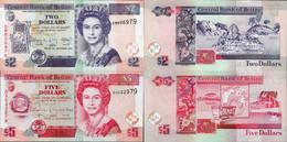 Belize Set 2 Pcs 2+5 Dollars - Pick 66-67 UNC Random Years - Belize