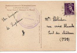 LES CHANTIERS DE LA JEUNESSE GROUPEMENT N°20 TURENNE  Lapleau Correze - Marcophilie (Lettres)