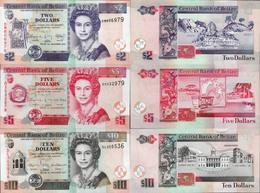 Belize Set 3 Pcs 2+5+10 Dollars - Pick 66-68 UNC Random Years - Belize