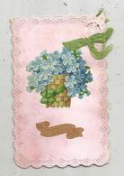 Cp  , SOUVENIR D'AMITIE , Fleurs ,dentelée  , écrite  , Carte à Rajout , Découpis  ,gaufrée, Tissus ,noeud , Corbeille - Fiori