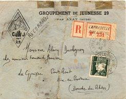 LES CHANTIERS DE LA JEUNESSE GROUPEMENT N°29 BUGEAUD Formigueres Pyrenees Orientales - Marcophilie (Lettres)