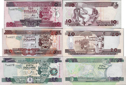 Solomon Islands Set 3 Pcs 10+20+50 Dollars - Pick 27-29 UNC Random Years - Salomons