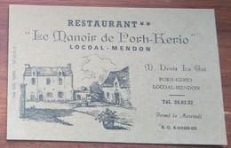 """[MORBIHAN ] Carte Publicitaire Du Restaurant """" Le Manoir De Porh-Kerio """" à Locoal-Mendon, Vers 1950. - Visiting Cards"""