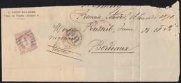"""1871. MADRID A BURDEOS. 12 CUARTOS CASTAÑO CLARO. MAT PARRILLA """"1"""" NEGRO MADRID. FECHADOR, """"P.D."""" Y TRÁNSITO. ENVUELTA. - 1868-70 Gobierno Provisional"""