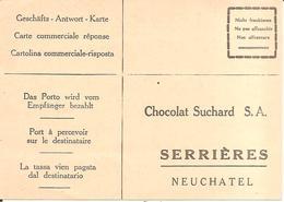 SERRIERES (Neuchâtel-NE) Rare Carte Commerciale Des Années 30 - Chocolat Suchard S.A. Avec Tarifs Au Dos - NE Neuchâtel