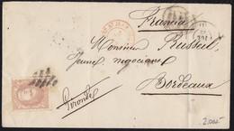 """1872. MADRID A BURDEOS. 12 CUARTOS CASTAÑO. MAT PARRILLA CIFRA ILEGIBLE. FECHADOR, """"P.D."""" Y TRÁNSITO SAN JUAN DE LUZ. - 1868-70 Gobierno Provisional"""