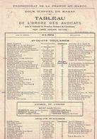 1927 PROTECTORAT DE LA FRANCE AU MAROC COUR D'APPEL DE RABAT TABLEAU DE L'ORDRE DES AVOCATS TRIBUNAL CASABLANCA - Factures & Documents Commerciaux