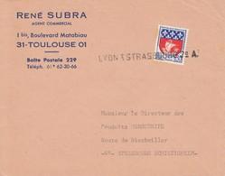 Env Affr  Y&T 1354B Obl Linéaire LYON A STRASBOURG 2° A Adressée à Schiltigheim - Poste Ferroviaire