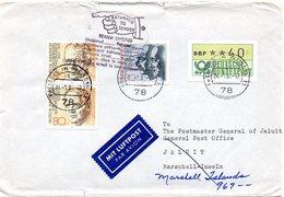 """BRD 1984  Brief/ Letter """" Returned To Sender """"  BRD Nach Den Marschall- Inseln  ; Fehler/ Fault - Post"""