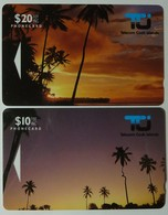 COOK ISLANDS - GPT Pair - 1st Issue - Sunset & Palm - VF Used - Cook Islands