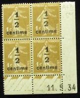 Semeuse 1/2 Sur 1 C. Bistre En Bloc De 4 Coin Daté - 1906-38 Semeuse Camée