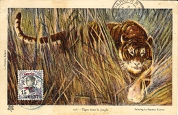 1929- C P A  ( Tigre Dans La Jungle ) Affr. N° 72 -  6 Cent Sur 15 Cent   SEUL - Briefe U. Dokumente