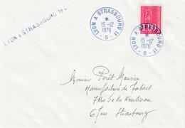 Env Affr Y&T 1892 Obl LYON A STRASBOURG 1° - G - [bleu] Du 15.12.1976 Adressée à Strasbourg - Marcophilie (Lettres)