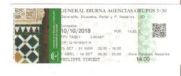 TICKET ENTREE BILLET ESPAGNE ALHAMBRA  GRENADE GRANADA ILLUSTRATION PATIO DE ARRAYANES - Tickets D'entrée