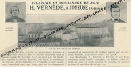 Ancienne Publicité (1925) : Filature Et Moulinage De Soie, H Vernède, Joyeuse (Ardèche) - Publicités