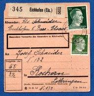 Allemagne   -  Colis Postal  -- Départ Eichhofen - Pour Cocheren  - - Allemagne