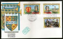 Tuvalu NANUMAGA 1984 British Monarchs King Queen Coat Of Arms Sc 23-25 FDC # F154 - Covers