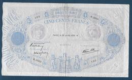 France - 500 F  Bleu Et Rose   Du  20 - Juillet - 1939 - 1871-1952 Antichi Franchi Circolanti Nel XX Secolo