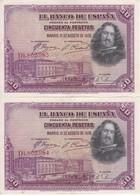 PAREJA CORRELATIVA DE 50 PTAS DE 1928 DE VELAZQUEZ SERIE D EN CALIDAD EBC (XF) (BANKNOTE) - [ 1] …-1931 : Primeros Billetes (Banco De España)