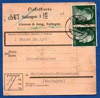 Allemagne   -  Colis Postal  -- Départ Solingen 1  -- 5/6/1943 - Allemagne