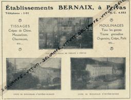 Ancienne Publicité (1925) : Tissages, Moulinages, Etablissements Bernaix, Privas (Ardèche), Usine D'Ouvèze-le-Haut - Publicités
