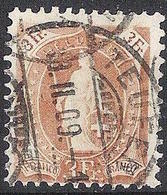 Schweiz Suisse 1907: 13 Zähne+Faser 13 Dents,melée Zu 100B Mi 94C Yv 112 - 3 Fr Braun O TEUFEN 18.II.09(Zu CHF 100.00) - 1882-1906 Wappen, Stehende Helvetia & UPU