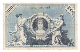 T. Germany German Empire 100 Mark 1908 Reichsbanknote Green Seal & Ser. 3749472 J - [ 2] 1871-1918 : Duitse Rijk