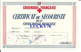 Certificat De Secouriste De La Croix Rouge Francaise 1948 - Diplômes & Bulletins Scolaires